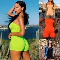 Kadınlar Jumuzitler Kapalı Omuz Tüp Bodycon Seksi Spor Tulum Tulum Takım Moda Biker Şort Skinny Yaz Bayan Romper 050717