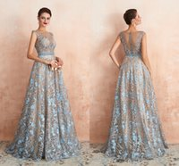 Lace Prom Dresses Dance Party Gowns Evening Dress Sheer Neck Hand Made Beaded