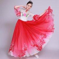 Big Swing Red Peony Chorus Costumes Chinese Classical Instrument Performance Dress Fan umbrella Folk Dance Wear Stage