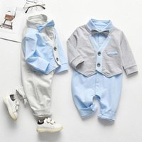 Jumpsuits Autumn Spring Born Kids Boys Gentleman Fake Two Piece Clothes Baby Long Sleeve Rompers Children