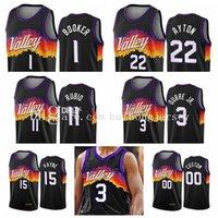 2021 Yeni Phoenix Güneşler Erkekler WomenAbc Devin Booker Deandre Ayton 3 Chris Paul 2020/21 Swingman City Black Icon Edition Basketbol Forması