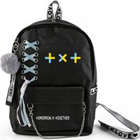 Backpack Kpop TXT Large Capacity School Bag With Crossed Ribbon Plush Ball Pendant Tomorrow X Together Travel Fan Collection