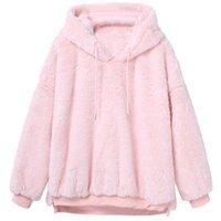 Women's Hoodies & Sweatshirts Social Harajuku Womens Winter Warm Fluffy Coat Fleece Fur Outerwear Sweatshirt Tracksuit