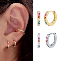 Hoop & Huggie ELESHE Wholesale 925 Sterling Silver Rainbow Pave With 18K Gold Plated CZ Small Earrings For Women Delicate Jewelry