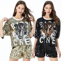 Paillettes Shiny Womens Ladies Top Style Tiger Testa a manica corta Abbigliamento Abbigliamento T-Shirt Dress Summer Casual