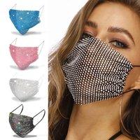 Moda colorido de malla diseñador de máscaras de la fiesta Bling Diamond Rhinestone Grid neta lavable sexy máscara hueca para las mujeres wll927