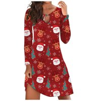 Casual Dresses Santa Claus And Snowflake Printed Cartoon Dress Women Long Sleeve Christmas Party Hollow Out O-Neck
