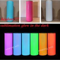 Sublimação DIY tumblers retas 20oz brilho no copo escuro com tinta luminosa Luminescent Magic Magic Cup Skinny