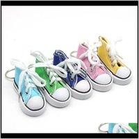 Portachiavi Fashion Aessories Drop Consegna 2021 Trendy all'ingrosso 3D Sneaker Portachiavi Simulazione colorata Simulazione Canvas Scarpe da tasto Anello Bambole Aessori