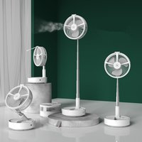 mini Humidifier spray fan foldable telescopic portable shaking head vertical remote control lighting USB fans two colors