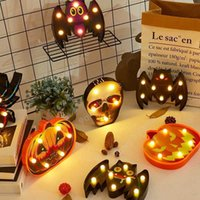 New Halloween Lamp Plastic Pumpkin Bat Ghost Night Light Halloween Lamp for Home Bar Dining Decoration DHP09