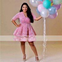 Sparkly Pink Sequins Lace Plus Size Short Prom Dresses 2022 Arabic Women Sexy V Neck Knee Length Evening Occasion Gowns For Black Girl Vestidos De Novia
