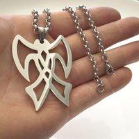 Stor silverfärg Rostfritt stål Dubbel Hatchet Charms Hängsmycke Halsband Smycken Gåvor för Mens Kedjor