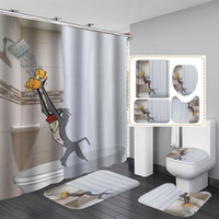 Shower Curtains Bathroom Decor Waterproof Curtain Set Toilet Cover Non-Slip Bath Mat Rug Carpet Seat Accessories Washable