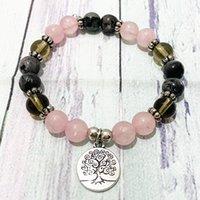 MG0342 Women`s Tree of Life Charm Bracelet Natural Rose Quartz Smoky Quartz Bracelet Gray Larvikite Energy Yoga Mala Bracelet