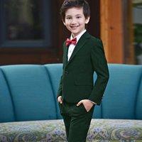 Красивые костюмы Blazer Kid's Green Prom Wedding Boy Tuxedo Детская одежда набор милый формальный костюм 2 шт. (Куртка + брюки) Мужские пиджаки