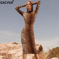 Casual Dresses GACVGA Leopard Print Midi Bodycon Dress For Women 2021 Autumn Winter Sexy Party Lady Slim Streetwear Vestidos De Fiesta