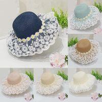 Caps & Hats Parent-child Summer Women's Sun Hat Bucket Cap Princess Lace Flowers Flat Top Straw Woven Girls Beach Panama