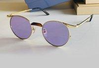 0238 Retro Oro Violeta Redondo Gafas de sol Redondas Metal Etched Gafas Unisex Fashion Gafas De Sol Occhiali Da Sole Firmati UV400 Protección Ojo Ojo Con Caja