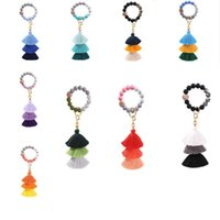 Beaded Keychain Party Favor Leather tassel wood bead key-chain Beads tring Key Ring Chain Silicone Women Wrist Strap Bracelet dd659