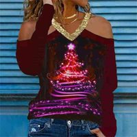 8 Colors S-5XL Plus Size Women Christmas Xmas Clothing Tops Glitter V-Neck Shoulder Out Sexy Blouses Casual Pullover Hoodie Sport Tops long sleeve T-shirt G02ANUE