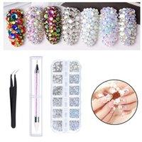 Nail Art Kits Rhinestones Set For Clothes Dotting Pen Flat Back Multishape Crystals AB 3D Craft With Tweezer Colorful Shiny Tips DIY
