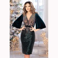 Casual Dresses African For Women Sexy Deep V-neck Sequined Daily Dress Evening Party Africa Flare Sleeve Summer Bodycon