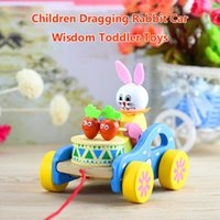 Baby Wooden Car Pull Rope Tow Truck Push Vehicles Cartoon Animal Walkers Drag Building Blocks Models Gift Toddler Toys