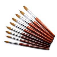 نوعية جيدة مسمار الفن المنك فرشاة الخشب مقبض جل بناء مانيكير الرسم أدوات كولينسكي أكريليك مجموعة فرش