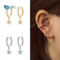 Hoop & Huggie 925 Silver Ear Buckle Star Pendant Earrings For Women Exquisite Luxury Crystal Korean Fashion Females Jewelry Gift