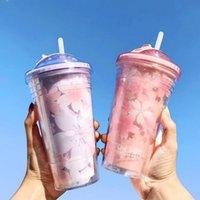 Sakura BPA Kostenlose Plastikbecher mit Deckeln und Strohwasserflasche zum Trinken von Kaffeetasse Saft Milchtasse versteckte Eisbecher