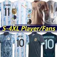 Argentina Futebol Jerseys Versão Versão Ventiladores 200 º Aniversário 2021 22 Di Maria Messi Maradona Kun Agüero Lo Celso Martinez Correa Homens Kits Kits Jersey S-4XL