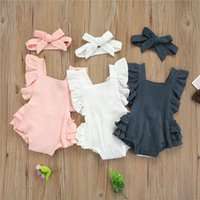 Clothing Sets 0-18Months Born Baby Girls Sleeve Cotton Romper,Children Fresh Solid Color Backless Ruffles Jumpsuits And Headband