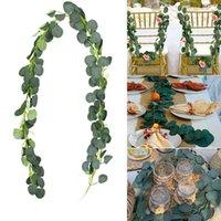Party Mariage Toile de toile De Mariage Archande Verdure Artificielle Eucalyptus Guirlande Feuilles Feuille Décorative Feuille de soie à la main Vigne Faux Flora