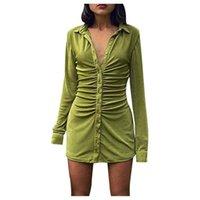 Casual Dresses Women Elegant Short Sleeve Skinny Mini Dress Summer Turn-down Collar Ruched Shirt Green Blue Slim Party Vestido
