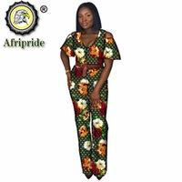 Africano 2 peça para mulheres colheita Top e calças de comprimento total Outfits manga curta de algodão puro impressão de cera sexy s2026034 mulheres dois