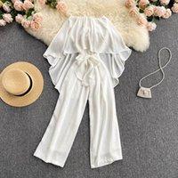 Women's Jumpsuits & Rompers Macacão feminino branco com babados, calça prida casual de praia faixa larga, sem alças amarras, moda verão TU5K