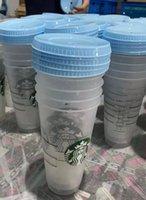 Starbucks Mermaid tanrıça 24 oz / 710 ml Plastik Kupalar Tumbler Kullanımlık Saman Süt Çay Soğuk Su Kar Kupaları 100 adet Ücretsiz DHL