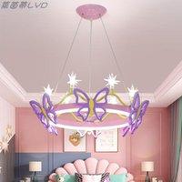 Kolye lambaları çocuk odası avize kelebek taç karikatür kişisel yaratıcı internet ünlü modern basit led sıcak prenses r