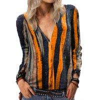 Women's T-Shirt Autumn Women Fashion V-Neck Zipper Tie Dye Stripe Print Loose Casual Long Sleeve Ladies TShirt Female Plus Size 5XL Tops