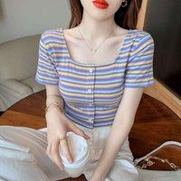 Summer 2021 Korean new fashion loose and thin short sleeve top temperament versatile Rainbow Stripe T-shirt for women
