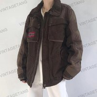Women's Jackets B-TOTO American Retro Coffee Color Stitching All-match Spring And Autumn Jacket Trendy Ins Loose 2021