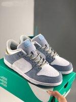 Sean Cliver X SB Dunk Pro QS 로우 겨울 발렌타인 데이 스케이트 보드 신발 남성 스니커즈 심령 파란색 금속 골드 Zapatos 크기 36-45
