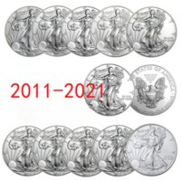 11Pcs set United Statue of Liberty 2011~2021 Challenge Coin Collectibles Silver New-Year Gifts Commemorative Fine Collection Home Decoration