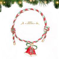 Handmade Christmas Charm Braided Chain Bracelet for Women Men Snowflake Stanta Xmas Tree Adjustable Friendship Bracelets Happy New Year Jewelry