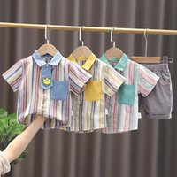 Clothing Sets Summer Baby Infant Boy Clothes Set Arrived Short Sleeve Cotton Striped Shirt With Shorts 2PCS Set Children Outfit