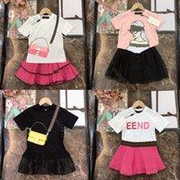 2021SS FEN ve DI Bebek Giysileri Elbise Setleri FF Marka Babye Kız Tasarımcılar Elbiseler Moda Tasarımcı Giyim Çocuklar Pamuk T Gömlek Dantel Etek Iki Parçalı Suit