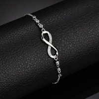 Rose Gold Silver Color Bracelet Dainty Female Crystal Infinity Bracelets For Women Charm White Zircon Stone Party Chain