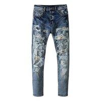 Jeans da uomo American Amr 2021SS per uomo lavato patch strappato abbigliamento pantaloni streetwear TRAF Pantaloni