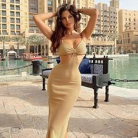 Casual Dresses Chain Open Fork Hollow Dress 2021summer Sexy Hip-lifting Sling Beach Bodycon Party Women Evening